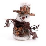 Rustic Christmas Snowman, Round with Top Hat Small