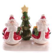 Jolly Red Santa Ceramic Salt & Pepper Set with Xmas Tree Holder